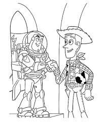 print woody and buzz handshake toy story coloring page or download
