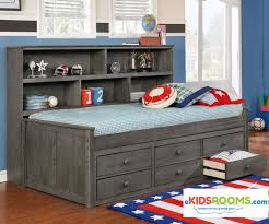 Captains Bed Twin Size Twin Size Bookcase Captains Daybed Driftwood Gray Allen House