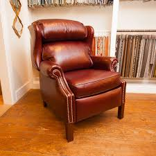 wingback recliner in burgundy leather saybrook country barn
