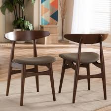 dining room sets with fabric chairs baxton studio flamingo dark brown fabric upholstered dining chairs
