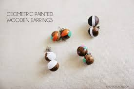 wooden stud earrings geometric painted wooden earrings