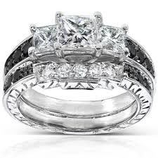 white and black diamond engagement rings annello 14k white gold 1 3 5ct tdw black and white diamond bridal
