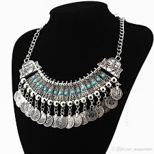 silver fashion statement necklace images 2018 senhua bohemian silver vintage exaggerated coins tassel jpg
