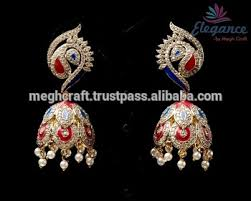 fancy jhumka earrings indian exclusive traditional american diamond earring party wear