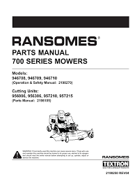 parts manual 700 series mowers