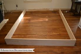 Build Wooden Bed Frame Diy Stained Wood Raised Platform Bed Frame Part 1