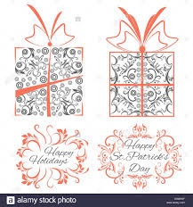 set decorative ornamental objects boxes frames stock vector