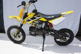 kids 50cc motocross bikes pit bike 125cc dirt devil yellow with kick start