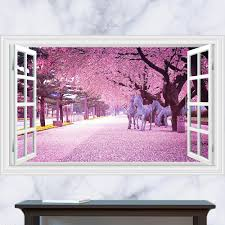 Tree Wall Decals For Living Room 3d Generic Windows Flower Horse Cherry Blossoms Tree Wall Decal