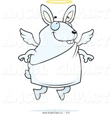 clip art of a coloring page of a flying angel rabbit with a halo