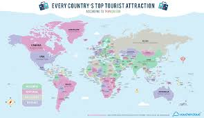 Canada On The Map by Every Country U0027s Most Popular Tourist Attraction U2014in One Handy Map