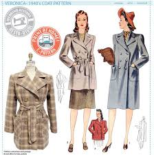 historical pattern review e pattern veronica 1940 s coat wearing history