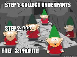 Profit Meme - step 1 collect underpants step 3 profit step 2