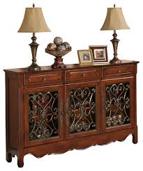 Powell Walnut 3 Door Scroll Console Traditional Console Tables