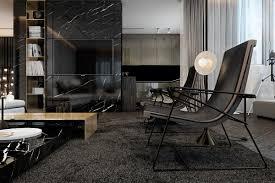 dark interior three luxurious apartments with dark modern interiors