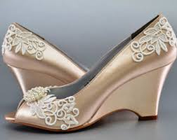 gold wedge shoes for wedding wedges shoes etsy