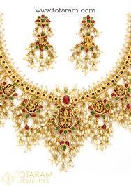 pearls gold necklace sets images 22k gold 39 lakshmi 39 guttapusalu necklace set for women with cz pearls jpg