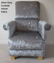 Bespoke Recliner Chairs Silver Grey Crushed Velvet Fabric Chair Bespoke Chairs For