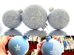 winter wonderland set of 3 blue and white painted glass ornament