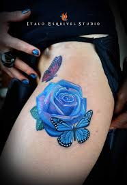 butterfly on blue rose tattoo on front in 2017 real photo