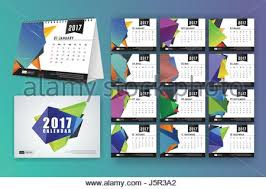 12 month desk calendar template for print design with colored