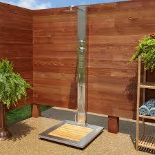 abner outdoor stainless steel shower panel with bamboo tray outdoor