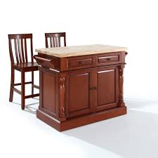 crosley furniture butcher block top kitchen island in cherry