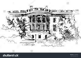 ink drawing white house residence us stock vector 333660866
