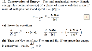 conservation of energy the total mechanical energy kinetic energy plus potential energy