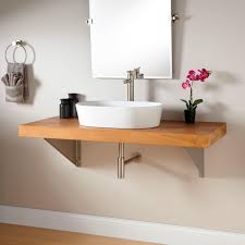 wall mounted sink vanity 49 teak wall mount vessel sink vanity triangular brackets