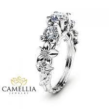 sapphire studios black moissanite white three stone moissanite engagement ring 14k white gold branch ring