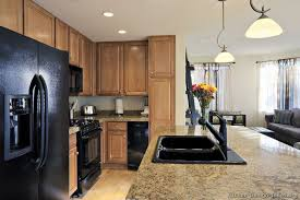 Kitchen White Cabinets Black Appliances Traditional Light Wood Kitchen Cabinets With Black Appliances