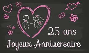25 ans de mariage carte anniversaire mariage 25 ans tableau