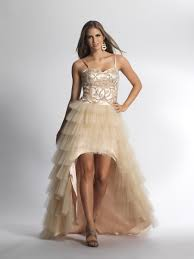 high low style beaded champagne prom dress on sale on