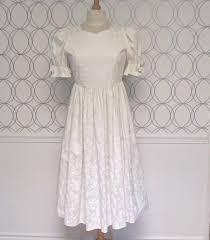 Ashley White by Vintage Laura Ashley White Damask Dress Ivory Puffy Sleeve