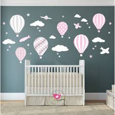 hot air balloon jets wall stickers baby pink grey white hot air balloon jets nursery wall stickers baby pink grey white