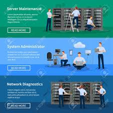 it administrator horizontal banners with network engineers working