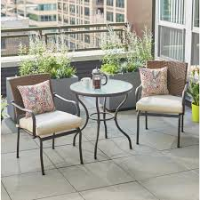 Hampton Bay Patio Dining Set - hampton bay pin oak 3 piece wicker outdoor bistro set with oatmeal