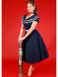 betty page clothing captain flare swing dresses retro dress blue