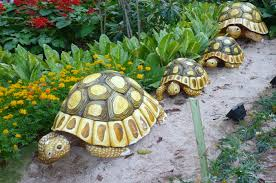 strolling tortoises garden ornaments make from a durable