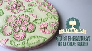 Royal Icing Decorations For Cakes Royal Icing Brush Embroidery On A Cake Board Tutorial How To Cake