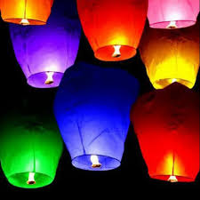 lantern kites hot sale 10pcs chineses paper fly wishing lanterns assorted color