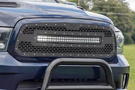 Dodge Ram Truck Grills - mesh replacement grille with 30in dual row black series led for