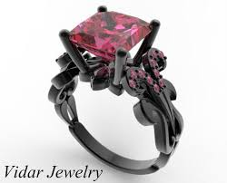 pink rings gold images Black gold princess cut pink sapphire engagement ring vidar jpg
