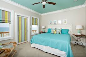 bedroom modern paint colors for bedrooms with art work and turquoise ceiling and crown molding with roman shades