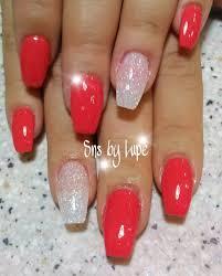 sns dipping powder nails in ballerina shape nails pinterest
