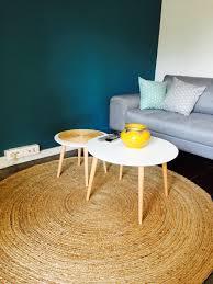 canap jonc de mer peinture naturelle bleue pétrole tapis rond jonc de mer tables