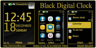theme clock black digital clock theme for nokia x2 c2 01 240 320 themereflex