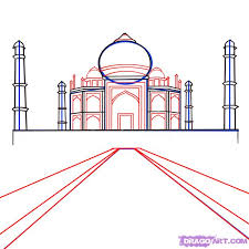 how to draw the taj mahal step by step famous places landmarks