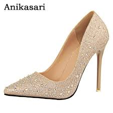 wedding shoes gold 2017 women pumps high heel shoes woman gold rhinestone
